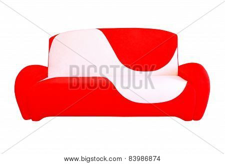Red and white modern sofa.Isolated.