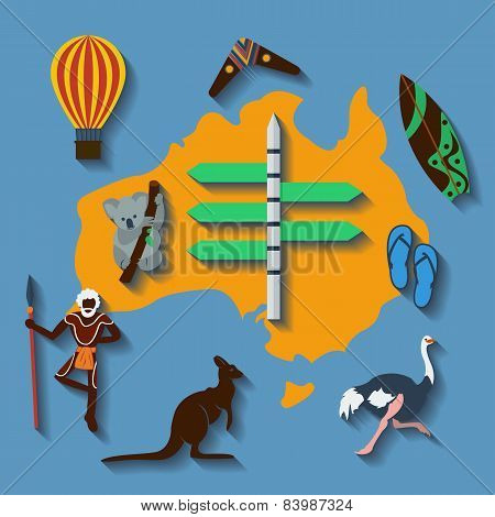 Vector australia travel flat color
