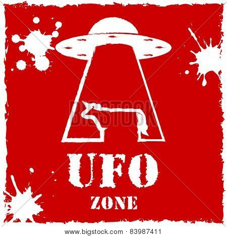 Vector ufo zone cow logo on red background