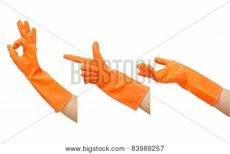 Set Of Gestures Hand In Orange Rubber Glove