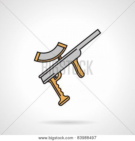 Colored paintball weapon flat vector icon