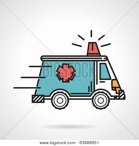 Flat color vector icon for ambulance car