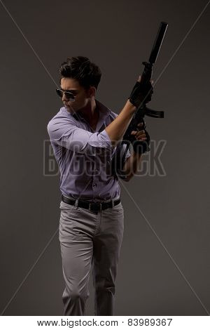 Shooter With Automatic Rifle