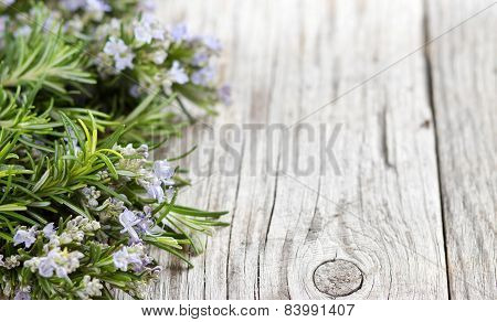 Wild Rosemary With Flowers On The Old Wooden Table