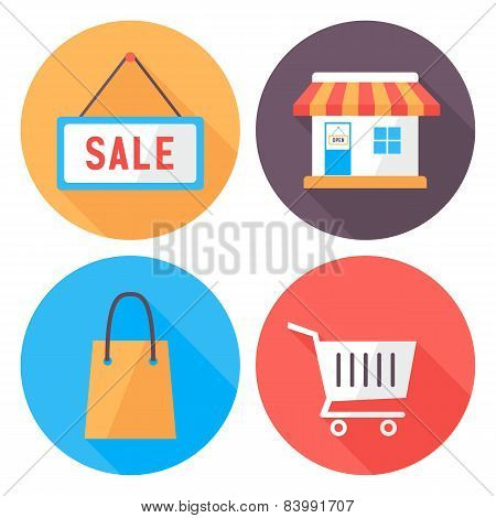 Shopping Flat Circle Icons Set