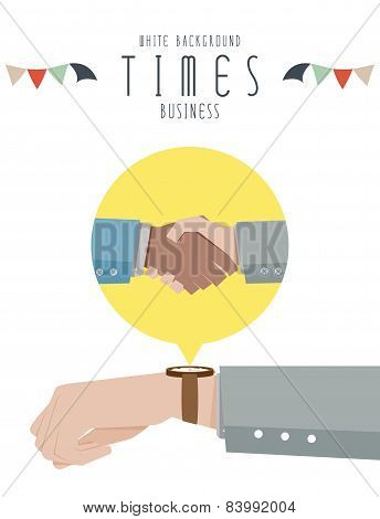 Hand with a watch, Business Times (White Background)