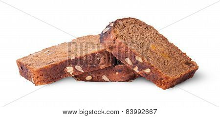 Chaotic Heap Of Three Pieces Unleavened Bread With Sunflower Seeds