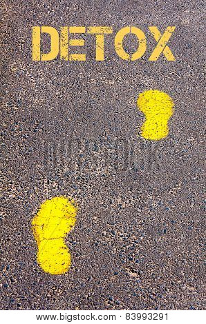 Yellow Footsteps On Sidewalk Towards Detox Message