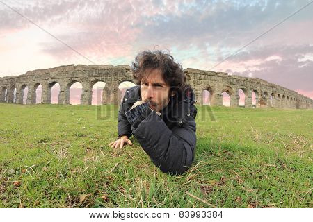 Man Under The Roman Acqueducts