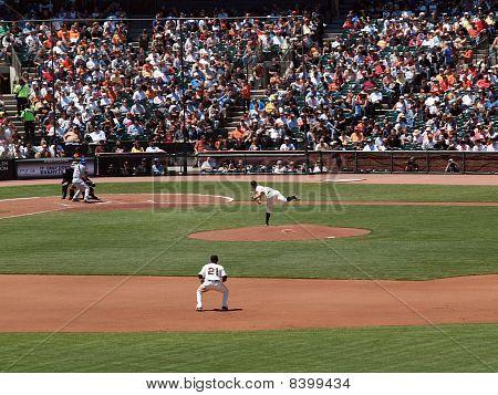 Giants Matt Cain Throws Pitch As 2Nd Baseman Freddy Sanchez Standing Ready