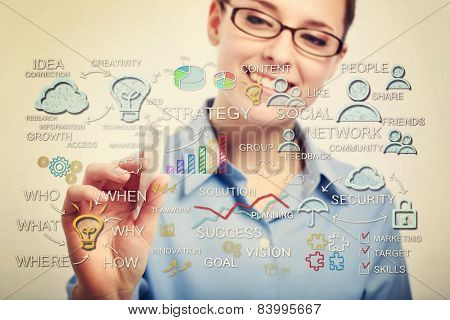 Young Business Woman Drawing Business Strategy Concepts