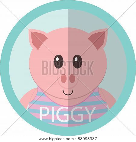 Cute Piggy Cartoon Flat Icon Avatar Round Circle