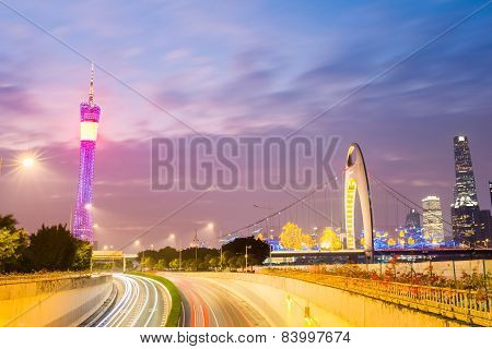 Beautiful Guangzhou Skyline In Nightfall