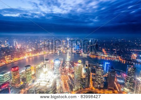 Magic City Of Shanghai At Night