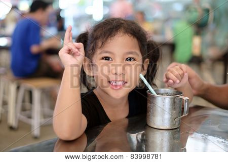 Girl Drinking Iced Water