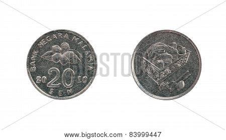 Twenty Malaysia Cents Coin
