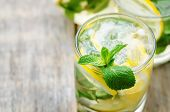 picture of mint-green  - lemonade with mint on a dark wood background - JPG
