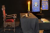 image of freemason  - Ancient freemasonry symbolic objects of Worshipful Master - JPG