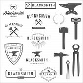 picture of blacksmith shop  - Set of logo - JPG