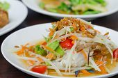foto of green papaya salad  - spicy papaya salad with crab asian spicy food