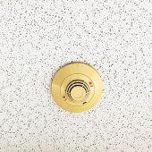 stock photo of smoke detector  - Smoke detector and red alert on ceiling - JPG