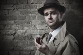 pic of snob  - Funny vintage investigator in trench coat holding a pipe - JPG