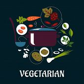 picture of leek  - Vegetarian dish flat infographic with pan and ladle surrounded fresh potato - JPG
