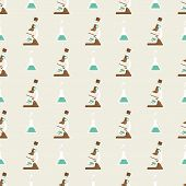 foto of png  - Seamless pattern with microscope and  flask png vector background - JPG
