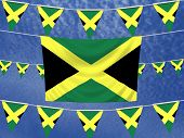 foto of jamaican flag  - Illustrated flag of Jamaica with bunting and a sky background - JPG
