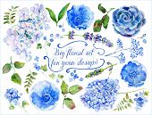 picture of hydrangea  - Watercolor flowers leaves - JPG