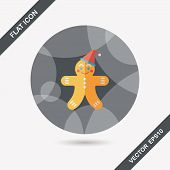 image of gingerbread man  - Gingerbread Man Flat Icon With Long Shadow - JPG