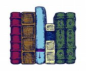 foto of spines  - Vector illustration of the books spines stylized as engraving - JPG