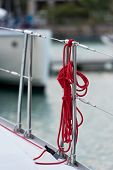 foto of lifeline  - A red rope tied around a lifeline - JPG