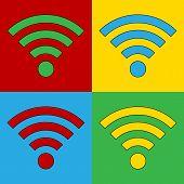 picture of fi  - Pop art Wi Fi simbol icons - JPG