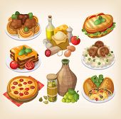 picture of italian food  - Set of italian food products and other elements of italian cuisine - JPG