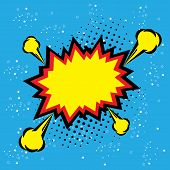 Постер, плакат: Explosion Steam Bubble Pop art Vector Funny Funky Banner Comics Background