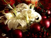 stock photo of christmas flower  - Christmas flowers surrounded by red ornaments - JPG