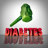 stock photo of diabetes symptoms  - Beating diabetes natural treatment concept as a hammer made of healthy fruits and vegetables destroying the diabetic disease as a symbol of medicinal diet and diagnosis of blood sugar condition - JPG