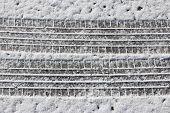pic of snowy-road  - Snow tyre tracks  - JPG