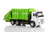 picture of trash truck  - Garbage truck toy isolated on a white background - JPG