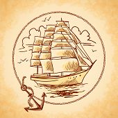 picture of tall ship  - Sailing tall ship old wooden metal vessel nautical emblem with rope frame and anchor vector illustration - JPG