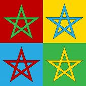 image of pentagram  - Pop art pentagram symbol icons - JPG