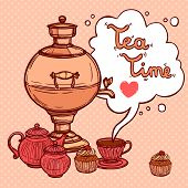 image of teapot  - Tea time background with sketch samovar and teapot cup cake vector illustration - JPG