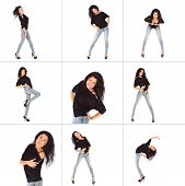 image of straight jacket  - Collage of Glamorous young woman in black jacket and jeans studio - JPG