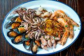 stock photo of octopus  - Cooked shrimps - JPG