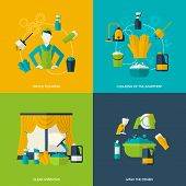 pic of window washing  - Cleaning design concept with office apartment windows dishes flat icons set isolated vector illustration - JPG