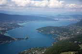 image of annecy  - looking down on Lake Annecy in the French Alps - JPG