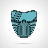 stock photo of paintball  - Flat color vector icon with black contour for blue paintball protection mask on white background - JPG