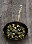 picture of brussels sprouts  - close up of a pan of rustic roasted brussels sprout - JPG