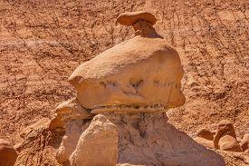 stock photo of hoodoo  - Mushroom Shaped Hoodoo with Chimney Goblin Valley State Park Rock Canyon San Rafael Desert Utah USA Southwest - JPG